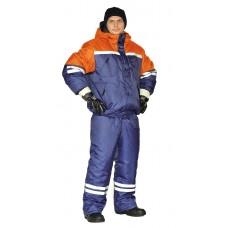 "Костюм зимний ""СТИМ"" куртка/полукомб. цвет: т.синий/оранжевый"