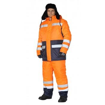 """Костюм зимний """"СКАНДИН-ДОРОЖНЫЙ"""" куртка/полукомб. цвет: оранжевый/т.синий"""
