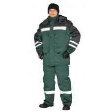 """Костюм зимний """"ЗИМНИК"""" куртка/брюки, цвет: т.зеленый/черный"""