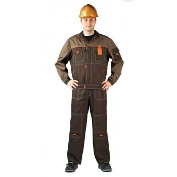 Костюм  Профи летний с п/к светло-коричневый/коричневый/оранжевый