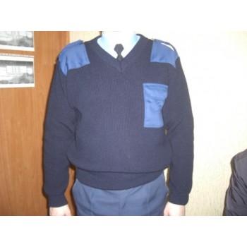 Джемпер охранника, V- горло, синий