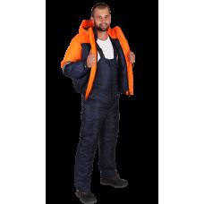 Костюм утепленный Снежок темно синий/оранж