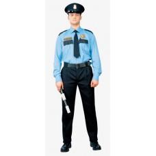Рубашка охранника, голубая, ДЛИННЫЙ рукав